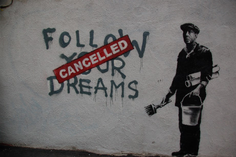 Banksy in Boston - Follow your dreams canceled, photo by Chris Devers http://www.flickr.com/photos/cdevers/4602805654/in/set-72157623923780977/