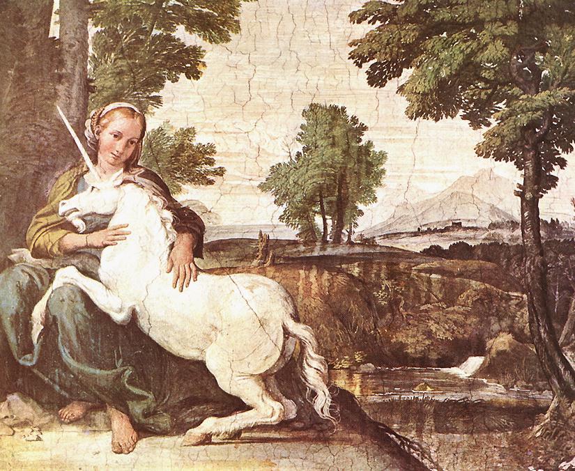 Virgin and Unicorn by Domenico Zampieri. This image is public domain.